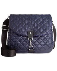 Calvin Klein Blue Cire Nylon Quilted Reversible Messenger