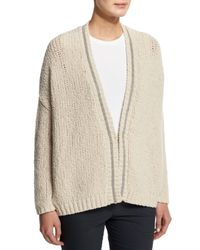 Brunello Cucinelli - Natural Chunky-knit Wool-blend Cardigan - Lyst