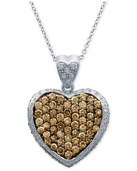 Le Vian | Metallic Chocolatier® Diamond Heart Pendant Necklace (1-7/8 Ct. T.w.) In 14k White Gold | Lyst