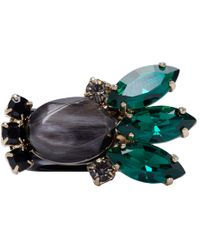 Marni - Green Black Resin And Horn Ring - Lyst