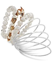 Style & Co. | Metallic Style&co. Silver-tone White Bead Mixed Media Bangle Bracelet Set | Lyst