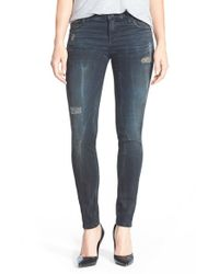 Kut From The Kloth - Blue 'mia' Distressed Skinny Jeans - Lyst