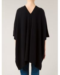 Vince - Black Leather Trim Poncho - Lyst