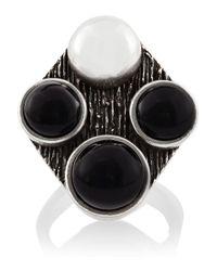 Saint Laurent | Metallic Patti Silver Onyx Ring | Lyst