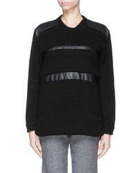 IRO Black 'colvyn' Leather Stripe Sweater