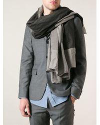 Lost & Found - Gray Colour Block Pashmina for Men - Lyst