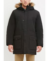 Forever 21 | Black Faux Fur Hooded Parka for Men | Lyst