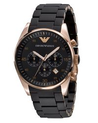 Emporio Armani | Black Silicon-bracelet Chronograph Watch for Men | Lyst