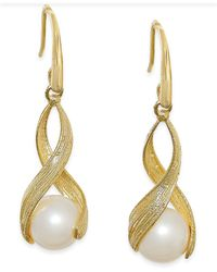 Macy's - Metallic Cultured Freshwater Pearl Twist Earrings In 18k Gold Over Sterling Silver (8-1/2mm) - Lyst