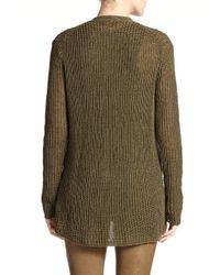Polo Ralph Lauren | Green Metallic Linen Cardigan | Lyst