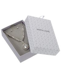 John Lewis - Metallic Sterling Silver Long Teardrop Clear Necklace And Earrings Set - Lyst