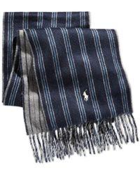 Polo Ralph Lauren Blue Doubleface Regimental Scarf for men