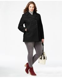 Kenneth Cole | Black Plus Size Double-breasted Peacoat | Lyst