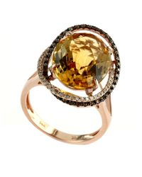 Effy | Pink Apricot Rose 14kt. Rose Gold And Citrine Ring With Diamond Accents | Lyst