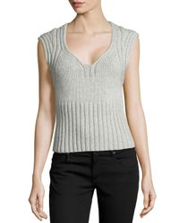 Michael Kors | Gray Sleeveless Cashmere and Wool-Blend Sweater | Lyst