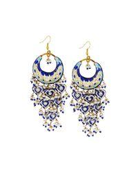 Chamak by Priya Kakkar | Blue Half-moon Chandelier Earrings | Lyst