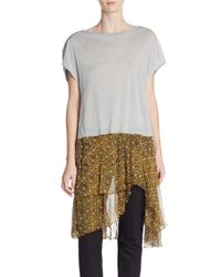 Dries Van Noten - Gray Contrast-hem Tee - Lyst
