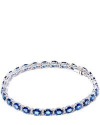 Kojis - Blue White Gold Oval Sapphire Diamond Bracelet - Lyst