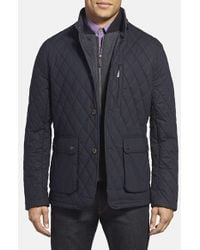 Ted Baker | Blue 'garyen' Diamond Quilted Jacket With Herringbone Liner for Men | Lyst