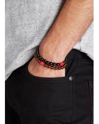 Paul Smith | Black Beaded Skull Bracelet | Lyst