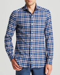 Eidos | Blue Marcus Plaid Flannel Button Down Shirt for Men | Lyst