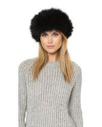Adrienne Landau - Black Fur Headband - Lyst