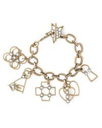 Lanvin - Metallic Heart, Cross, Flower Charm Bracelet - Lyst