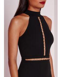 Missguided | Metallic Sleeveless Gold Hoop Trim Midi Dress Black | Lyst