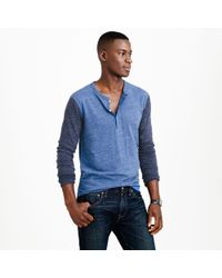 J.Crew - Blue Preorder Slim Flagstone Marled Henley in Colorblock for Men - Lyst