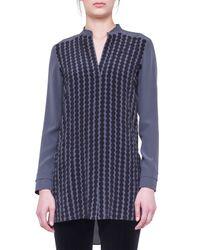 Akris Punto - Blue Dot-Applique Silk Tunic - Lyst