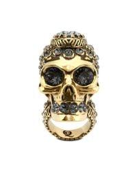 Alexander McQueen - Metallic Victorian Jewelled Skull Ring - Lyst