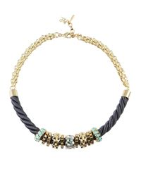 John & Pearl | Metallic Gold Plated Swarovski Rope Necklace | Lyst