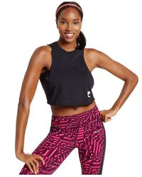 Nike | Black Cropped Polka-dot Tank Top | Lyst