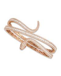 Roberto Coin | Metallic 18k Rose Gold Diamond Snake Bangle | Lyst