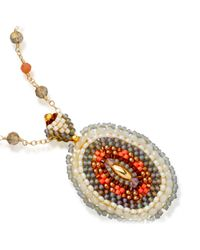 Miguel Ases | Orange Exclusive Opalite Beaded Chain With Pendant | Lyst