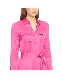 Ralph Lauren - Pink Belted Long-sleeved Shirtdress - Lyst