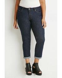Forever 21 - Blue Plus Size Classic Boyfriend Jeans - Lyst