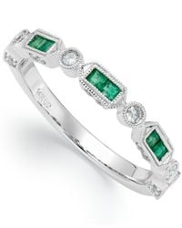 Macy's - 14k White Gold Emerald (1/4 Ct. T.w.) And Diamond (1/5 Ct. T.w.) Alternating Ring - Lyst