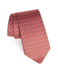 Ferragamo - Red Gancini Print Silk Tie for Men - Lyst
