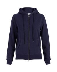 Sunspel   Blue Women's Loopback Cotton Hoody With Zip-front   Lyst