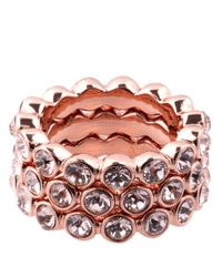 Givenchy - Pink Rose Goldtone And Crystal Stackable Ring Set - Lyst
