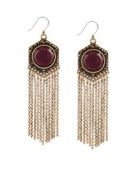 Lucky Brand - Gold-Tone And Semi-Precious Red Jade Fringe Drop Earrings - Lyst