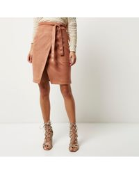 River Island - Brown Faux Suede Wrap Skirt - Lyst