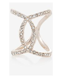 Express - Pink Pave Open Overlap Ring - Lyst