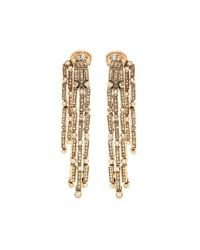 Oscar de la Renta | Metallic Crystal Embellished Clip-on Earrings | Lyst