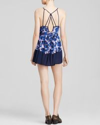 Free People | Blue Floral Voile Slip Dress | Lyst