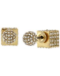 BCBGeneration | Metallic Gold-tone Pavé Ball And Cube Front To Back Earrings | Lyst