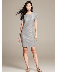 Banana Republic Metallic Silver Sweatshirt Dress Silver