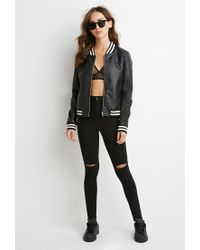 Forever 21 Black Perforated Faux Leather Bomber Jacket