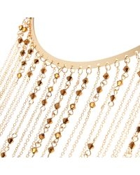 River Island - Metallic Gold Tone Long Draped Chain Necklace - Lyst